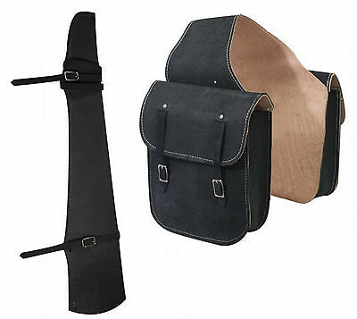 Western Trail Horse Black Roughout Leather Saddle Bag Bags W/ Gun Case Scabbard