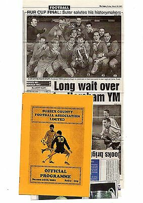 2000-2001 Sussex Charity Cup Final Horsham YMCA v Burgess Hill Town POST FREE