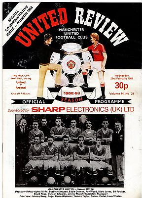 1982-1983 Manchester United v Arsenal League Cup Semi Final POST FREE