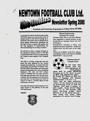 1999- 2000  Friendly Newtown v Tranmere Rovers