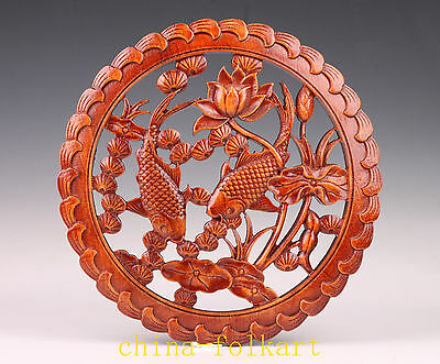 Good Luck Ornament Adornment Wood Carving Fish Statue Lotus Plate Painting Vinta