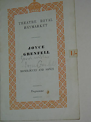 """JOYCE GRENFELL......""""Theatre""""....... HAND SIGNED AUTOGRAPH ON PROGRAMME."""