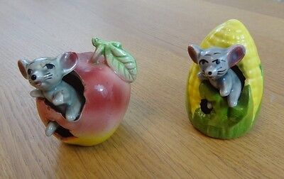 2 Vintage 1960s Collectable Ornaments : Mouse in an Apple & Mouse in a Corn