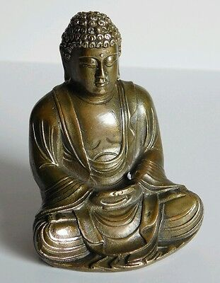 "3.5"" CHINESE BRONZE OF SITTING BUDDHA 285gms"