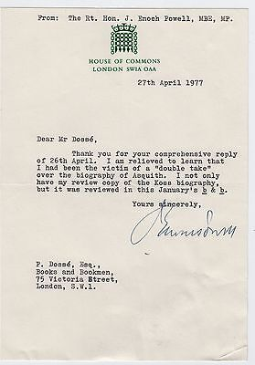 ENOCH POWELL, M.P., Typed Letter Signed about biographies, 1977