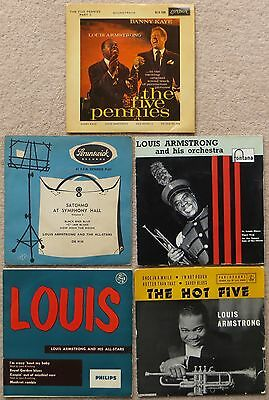 LOUIS ARMSTRONG 5 UK vinyl EPs Satchmo, & His Orchestra, Louis, Hot 5, 5 Pennies