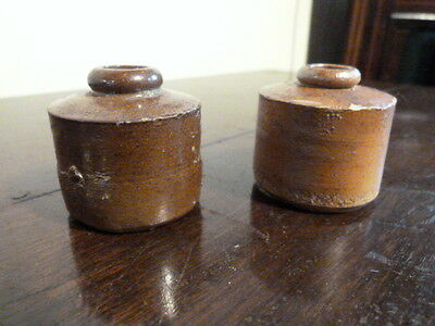 Two Lovely Antique Glazed Stoneware Ink Pots.