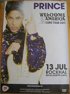 PRINCE Welcome 2 America Euro Tour 2011 Poster  Live Concert Gold Guitar
