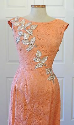 Vintage 50s 60s Lace Wiggle Dress Gown w Sequins