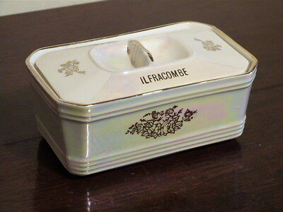 """Vintage Souvenir Lustre Ware Butter Dish By Sadler.""""a Present From Ilfracombe""""."""