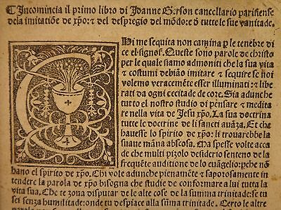 1500 Italian INCUNABLE Imitation of Christ / Thomas a Kempis Milan Jean Gerson