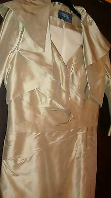Size 20 Mother of the Bride Wedding Outfit Gold Pure Silk Dress & Bolero Jacket
