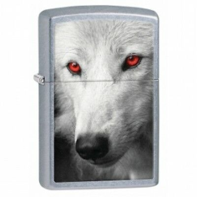 Zippo Wolf With Red Eyes Street Chrome Lighter Brand New