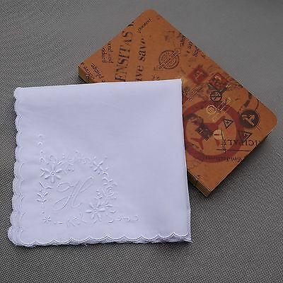 H Initial Vintage Style White Handkerchief Monogrammed Cotton Letter Hanky