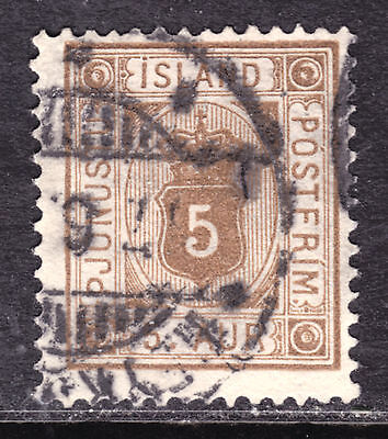 1876-95 ICELAND OFFICIAL #O5 5a BROWN, F, CDS CANCEL