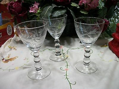 Imperial Candlewick Cut  Wine Stems Floral Signed