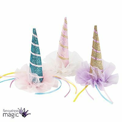 Mini Clip On Glitter Unicorn Horn Hat Party Hen Tea Birthday Fancy Dress Outfit