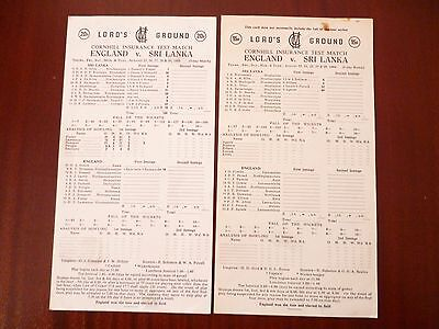 ENGLAND v SRI LANKA CRICKET LORDS 1980s SCORECARDS *READ/SEE PICTURES*