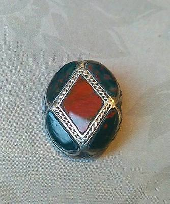 Antique Victorian Sterling Silver Scottish Agate Button