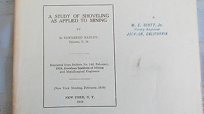 1919 Shoveling Applied To Mining Report-Miners Loading Ore Cars-Mining & Mines