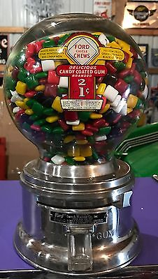 Gift VINTAGE ONE CENT Ford Gum Ball Machine Penny gumball Vending Lion Civic
