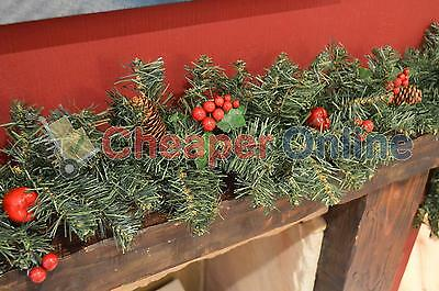 6ft (180cm) Christmas Garland with Berries & Pine Cones