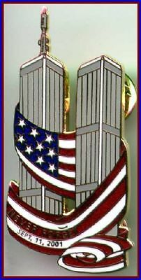 NEVER FORGET 9/11/01 Twin Towers with USA Flag WTC PIN #1 911 Tribute Memorial