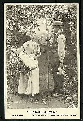 Postcard : Advertising Card Ilderton Laundry Camberwell, 'Old old story'
