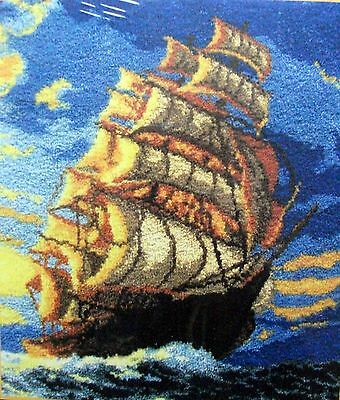 "Latch Hook  Nautical Rug Making Kit  ""clipper Ship"""