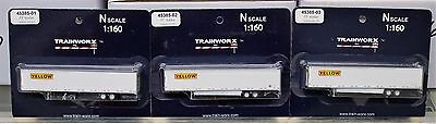 LOT of 3 - N Scale - TRAINWORX 45385-01, 02 & 03 YELLOW FREIGHT 53' Trailers