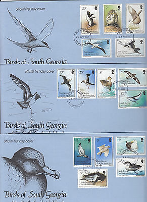 SOUTH GEORGIA:1987 Birds definitive set on  three illustrated FDC-SG 161-75