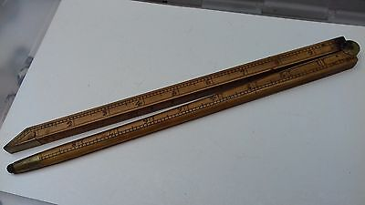 antique wooden alcohol measuring folding stick, (cock of london) gallons