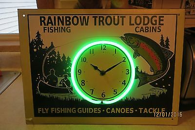 Rainbow Trout Lodge,fishing,cabins,fly fishing guides tackle neon clock sign