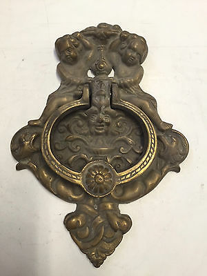 huge  vintage thick cast brass  ornate cherub mans face front door knocker