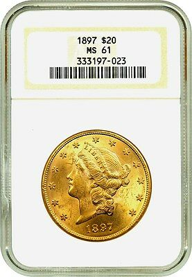 1897 $20 NGC MS61 - Liberty Double Eagle - Gold Coin