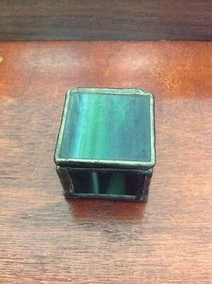 Vintage Green Stained Glass Small Square Lidded Trinket Box