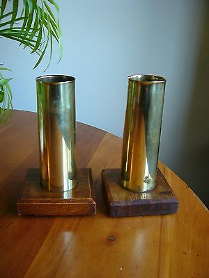 An Interesting Pair Of Ww2 Wooden Mounted Brass 40Mm Shell Cases -Marked 1940.