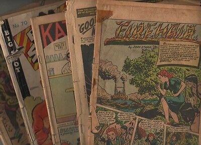 Big lot of 1940s/50s coverless comics, War, Western, Funny, Horror