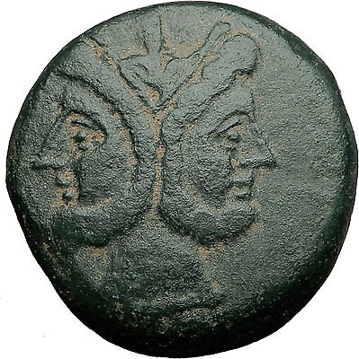 Roman Republic Anonymous Moneyer JANUS GALLEY As 207BC Rome Ancient Coin i58560