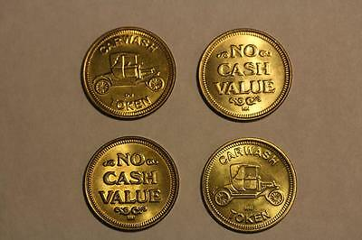 4 Vintage Car Wash Token/coin--As Close To New As You Can Get