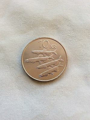 Iceland 10 Kronur Coin 1984 Capelin Fishes Unc