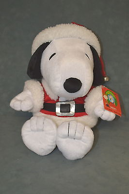 Peanuts SANTA SNOOPY PLUSH I want a Dog for Christmas Charlie Brown NM