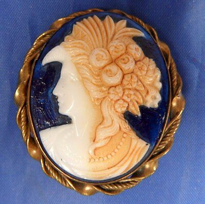 Stunning Antique 1940S Painted Moulded Glass Cameo Brooch Demeter