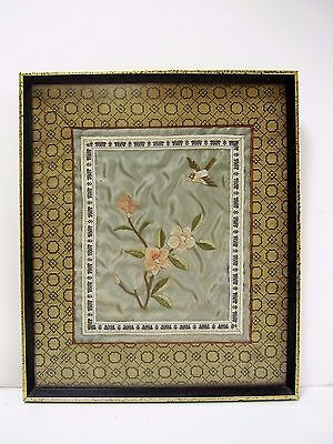Vintage Chinese Hand Embroidery Blue Silk Panel Flowers Bird Frame Glaze Picture