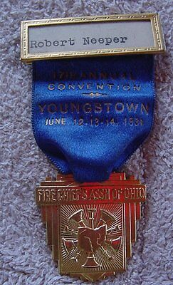 17th Annual Fire Chief's Convention Youngstown, OH Vintage 1934 Medal / Badge