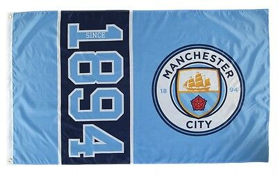 Manchester City Football Flag 5'x3' Since 1878 Official Man Flags MCFC ft New