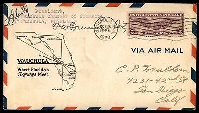 Airport Dedication Wauchula Florida Oct 30 1930 Cachet On Autographed Cover