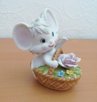 Cute Decorative - White Mouse China Ornament - In A Basket Full of Flowers
