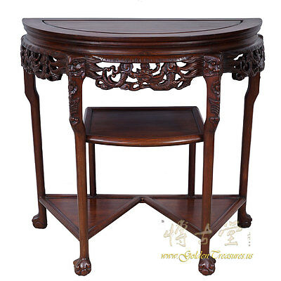 Chinese Antique Carved Rosewood Half Moon Table 16LP39