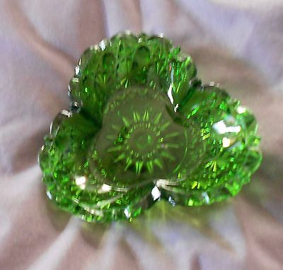 Vintage Green Cut Glass Clover Shaped Dish- Sun Or Star Burst Pattern